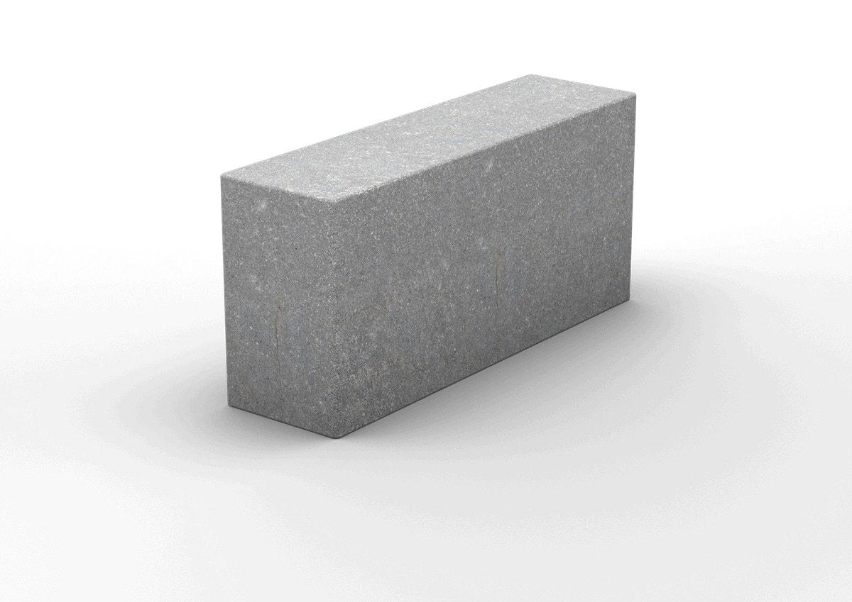 Полнотелый пескоцементный перегородочный блок 390х90х188