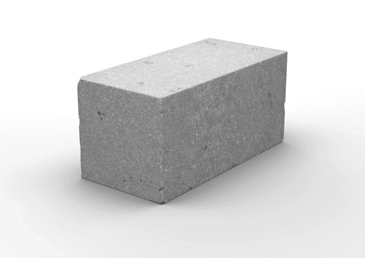 Керамзитобетонный полнотелый стеновой блок 390х190х188